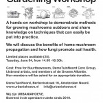 Workshop on outdoor mushroom gardening at Urbaniahoeve DemoGarden-Amsterdam Noord