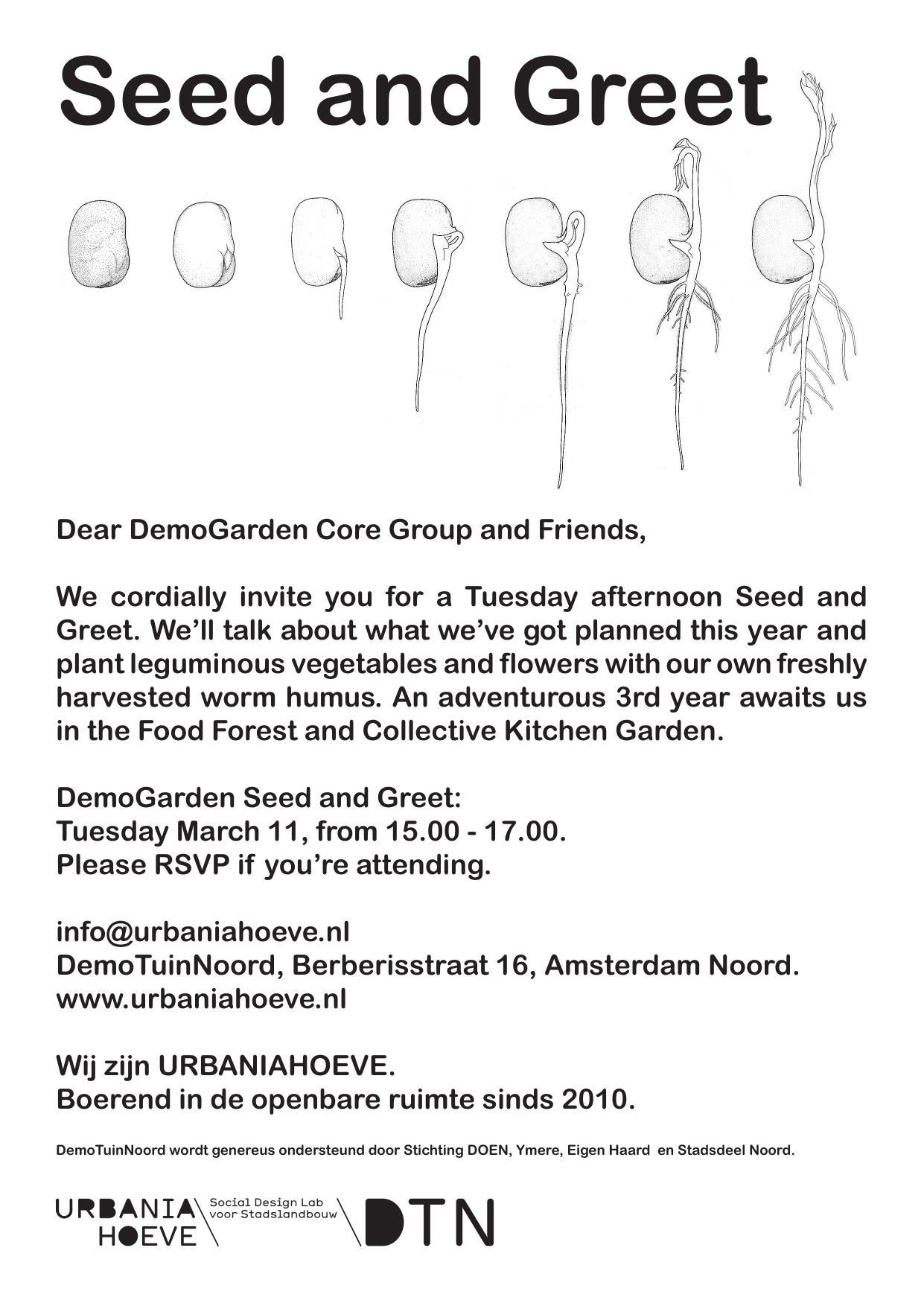 Seed & Greet in DemoTuinNoord 11 maart om 15u